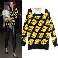 2014 Fall newest women's fashion yellow Bart Simpson sweater women winter cute cartoon kinitted pullover plus size