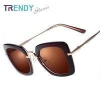 Retro Brown Sunglasses Women Brand Designer Glasses Sqaure Style Acrylic Lentes V02