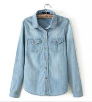 FREE Shipping New 2014 Autumn Jackets Casual Long Sleeve Denim Shirts For Womens European Fashion Clothing Hot Selling B-2027