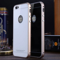 For apple iphone 6 4.7 inch phone bag cover Ultra thin Metal Aluminum Frame Tempered Glass phone case cover