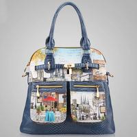 2015 New Vintage Women PU Leather Handbag Fashion Women Messenger Bags Crossbody Bag Oil Painting Shoulder Bag Tote Bolsas