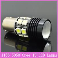 2x 12W 1156 S25 P21W BA15S Cree Car LED Projector 13 SMD 5050 Lamp Turn Light Parking Reverse Bulbs White