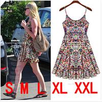 S-XXL 2014 Women Summer Strap Dress Print Floral Backless Dress Casual Mini Plus Size Cute Beach Dress Free Shipping HHY8326LMX