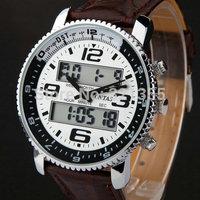 New Men Sports Military army  fashion casual Wristwatches Dual time Digital Analog Quartz Watch  leather strap Relogio Masculino