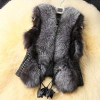 C Luxury Women's Warm Faux Fox Vest Thick Fur Collar PU Splice Gray Coat Jacket Outwear Overcoat Winter Fall Tops Pretty Tops