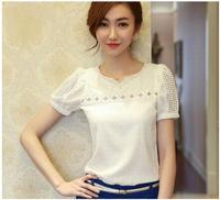 Free shipping 2014 Summer New Chiffon Shirt Women Slim Thin Openwork Beaded Lace Shirt-Sleeved  new
