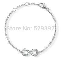 Free shipment Hot selling diy ts fashion TH356 chain bracelet silver plated rhinestones bracelet wholeseller