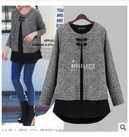2014 new winter fashion large size European style cape-style long sections stitching long-sleeved jacket -O015