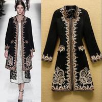 2014 Winter Fashion Women Retro Embroidery Woolen Long Coat Elegant Overcoat Plus Size XXL Wholesale F16488