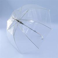 Free Shipping Retail 1Pcs Long Handle Transparent Umbrella Rain Women Semi-automatic Umbrellas
