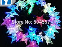 Free shipping 110-220V pentagram shape Christmas led string Lights 5m/50leds RGB light for Holiday/Party/Decoration