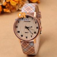 2014 new fashion quality women dress Watch Dial Roman numerals design Wooden Pattern PU Leather quartz watch F45-M069-1
