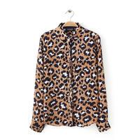 Brand New 2014 Women's Brand Design Leopard Print Full Sleeve Shirt Blouses Blouse SML