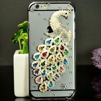 Beatiful Jewel Peacock Case for iPhone 6 4.7 inch Diamond Rhinestone Decorated + Screen Protector Film as Gift