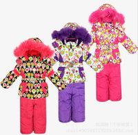2014 New Children's Winter Clothing Set baby girl Ski Suit Windproof Down Jacket Flower Warm Coat Fur Jackets+Bib Pants 3 Colors