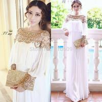 vestidos luxury heavy beaded chiffon women dress casual dress