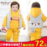 Male child girls clothing autumn and winter child thickening sweatshirt piece set baby cotton clothes set 0-1 - 2 - 3