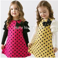 Hot Selling Good Quality Children's Clothing Dot Long Sleeve 2 Colors Dot Dresses Lovely Baby Girls Dress Wholesale 1Pcs/Lot
