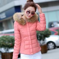 2014 autumn outerwear women's fur collar slim down coat thickening yrf female short design
