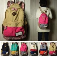 2014 New arrival Girl Canvas Travel Satchel Shoulder Bag Backpack School Rucksack Free shipping