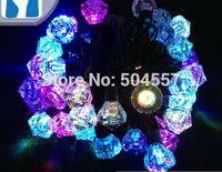Free shipping 110-220V Gem shape Christmas led string Lights 5m/50leds RGB light for Holiday/Party/Decoration