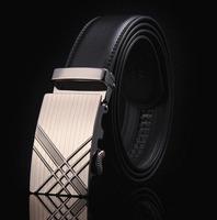 Men Belts 2014 HOT Fashion belt  Genuine Leather Waist Strap Belts Automatic Buckle Black Wholesale free shipping