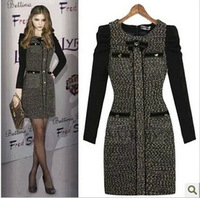 2014 New European Style Big Temperament Cultivating Long-sleeved Women'a Dress Big Yards Thick Winter Wool Dress