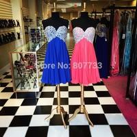 CY3746 Plus Size Red Royal Blue Empire Homecoming Dresses 2015 Vestido de Cocktail Chiffon