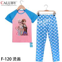 2014 Christmas New Year 8T- 12T sports sets child 2 piece suit Pyjamas short sleeve new baby costumes love frozen pyjamas
