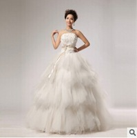 2014 New Elegant Sweet Flower Tube Top Vintage Bandage Fashionable Wedding Dresses Lace Plus Size Robe de Mariage Vestido Slim