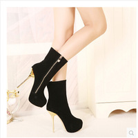 Ladies Sexy Winter Ankle Boots  High Heels Platform Women Booties Pumps Shoes Woman Female Black With Zip Size 35-40 ZG995-86