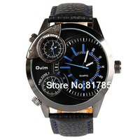 Oulm Male Quartz Wrist Watch Multi Function with Three Movt Round Dial and Leather Band