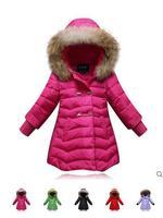 The new 2014 winter authentic raccoon fur collar children long down jacket