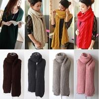 Pure Color Floral Twist Women Men Braided Knit Wool Long Scarf Wrap Shawl Scarves Winter #65922