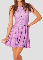 Women Cartoon Adventure Time Lumpy Space Princess Reversible Skater Dress Vestidos Free Shipping W4421