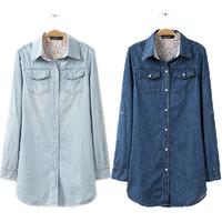 New 2014 medium-long slim shirt Dark Blue turn-down collar wash long-sleeve denim shirt for women 3XL Free shipping B-2025