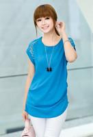 2014 new summer women's rhinestones loose medium-long chiffon short-sleeve shirt  clothe Free shipping plus size  new