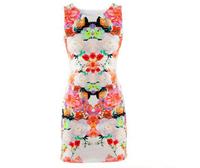 New 2014 Women Fashion Club Dresses Flower Print Sleeveless Retro Sexy Chiffon Dress Tank Mini atacado roupas femininas