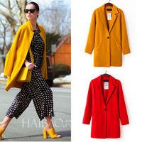 Women Auutmn winter New Wool Oversize CasualModern Lapel Trench Coat S-M Outwear 5 colors