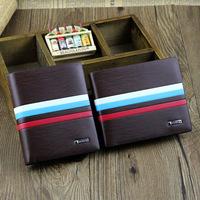 Horizontal bi-fold striped wallet men genuine leather & PU purses male BLR120359