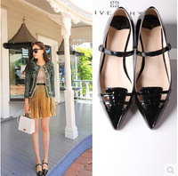 2014 Autumn casual shoes pointed toe flats shallow mouth flat-bottomed women's shoes