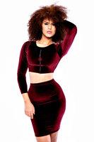 2014  New fashion women Autumn Dress Wine Party Dresses O-Neck Long Sleeve Velvet Body-conscious Dress Set LC6775