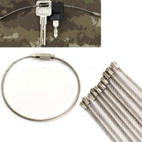 10 pcs Stainless Steel Wire Keychain Cable Key Ring for Outdoor Hiking 2014 New free shipping