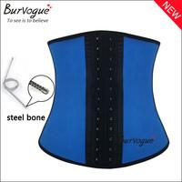 Hot sexy steel boned underbust corset latex waist training cincher lose weight sport corset and corselets blue pink bodyshaper