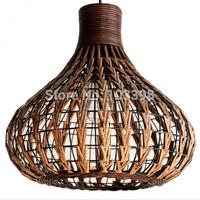 New southeast asia style lights Diameter35*H32cm iron wicker Hand woven design lamps items pendant lights E27 base home lighting