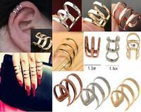 New Multipurpose Punk Rock Ear Clip Cuff Wrap Earrings No piercing-Clip On For Women Men Gold Silver Bronze Alloy Rings