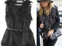 2014 New Arrival Original Women Fashional V-Neck Long Faux Fur Vest Sleeveless Style Outwear Gilet Black