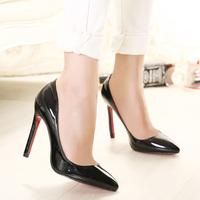 Woman Patent Leather Heeld High Heels Shoes Candy Color Pumps Plus Size Big Size Pumps