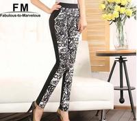 New Black Winter Leggings Women Clothing Warm Floral Plaid Print Leggings Slim Fitness Pants Plus Size Trousers AW14P029
