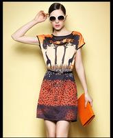 women  fashion orange color  lepoard printed brand new designer dresses summer short sleeve dress 25F69
